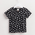 Children Clothing Boys Tees Kids Cotton T shirt , Toddlers' Simple Tee Black White  Dot Printed Kid's Clothing Summer Short Tops