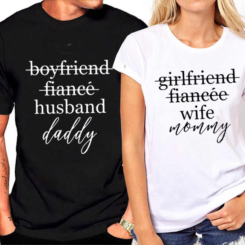a99644a3a ... Female T-shirtt Couples T-shirts Funny Matching Wedding Top Tee Couple  Tshirt Cotton ...