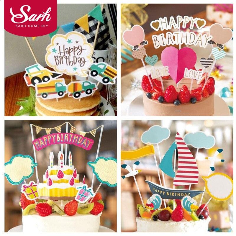 2017 New 1 Set Heart Cartoon Cake Flower Car Sail Insert Decoration New born Baby Birthday Party DIY Gifts