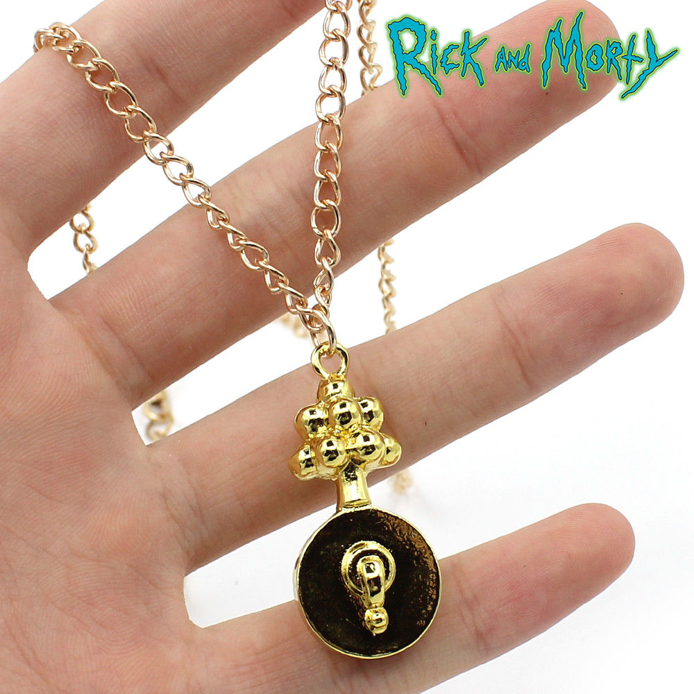 Anime Rick and Mori Pickle Rick Golden Pendant Metal 6.5cm Necklace Pendant Accessory Otaku Animation Costume Gifts