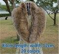 2015 dos homens do outono e do inverno do falso das mulheres de pele de guaxinim pele de raposa colar cachecol grande lenço da pele de raposa de alta qualidade 83 cm 20 cores