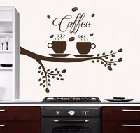 Tree Wall Decals Coffee Cup Decal For Kitchen Cafe Home Decor Vinyl Sticker