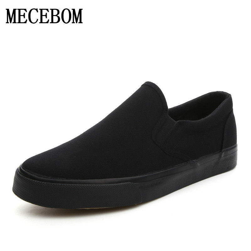 Men's canvas shoes fashion breathable slip-on flat loafers black Men's Vulcanized Shoes chaussure homme big size 39-46 h1688 fashion tassels ornament leopard pattern flat shoes loafers shoes black leopard pair size 38