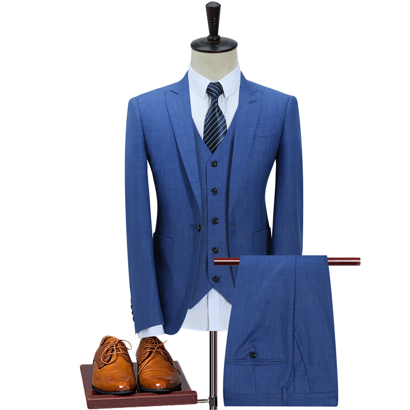 Plyesxale يتأهل الرجال الدعاوى الزفاف زر واحد كحلي الضوء الأزرق الرجال الرسمي الدعاوى ربيع الخريف 3 قطعة بدلة Q353-في بدلة من ملابس الرجال على  مجموعة 2