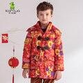 2016 Мальчиков Зимние Пальто Куртки Китайский Красный Печати Белая Утка Вниз Парки Длинные Бренд С Капюшоном Детская Одежда Детская Одежда