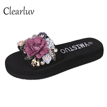 2019 hot fashion sweet slippers handmade flowers rhinestones flash wear beach non-slip word flat women C1025