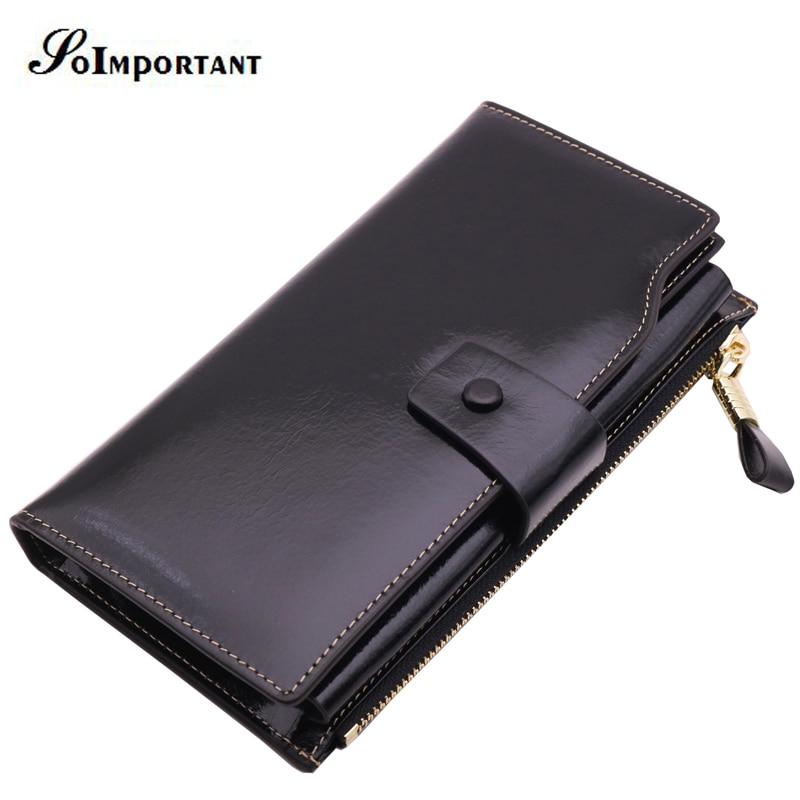 Luxury Brand Genuine Oil Wax Leather Men Wallets Portomonee Fashion Walet Male Wallet Long Clutch With Coin Purse Phone Pocket