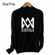 Marcus Martinus Letters Print Wool Cashmere Sweater Women Harajuku Fall Fashion Korean 2018 Half Turtleneck Pullovers Winter