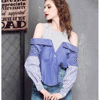 Women Street Unique Sleeveless Blouse Shirt Summer Long Patchwork Blusas Feminina Casual Tops Blouses Stripped Long