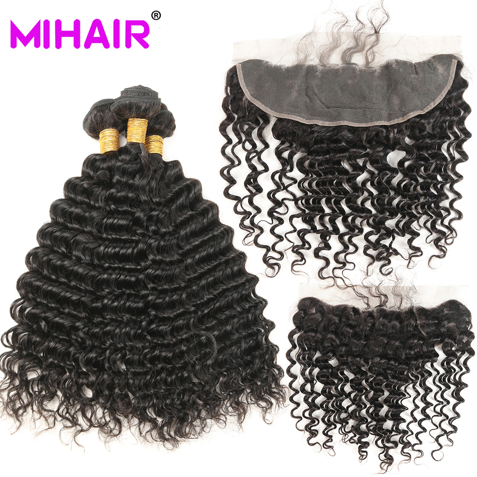 """Brazilijos """"Deep Wave"""" plaukų rinkiniai su nėrinių priekiniu uždarymu žmogaus plaukų pynimu su uždarymu MIHAIR Remy Hair 8-30 colių 1B #"""