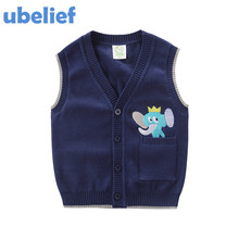 UBELIEF 2017 Toddler Kids Waistcoat Spring Autumn Embroider Cartoon Elephent Solid New Born Baby Sweater Boys Waistcoat