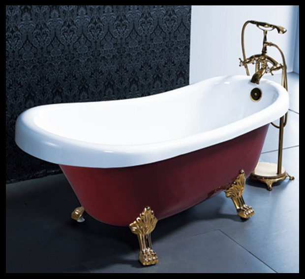 1.7 Meter hot sale red color acrylic clawfoot bathtub free standing ...