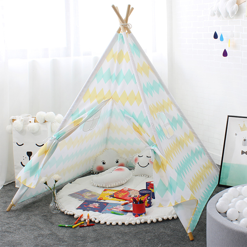 Teepee Tent For Kids Oxford Cloth Colorful Stripe Play Tent For Children Four Poles Foldable Playhouse For Baby Girl Boy foldable basketball tent