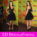 Lea Michele Little Black Dress FOX fall Eco Casino Cocktail Party Celebrity Dresses