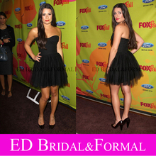 Lea Michele Kleine Schwarze Kleid FUCHS herbst Eco Casino Minicocktailparty Promi-kleider