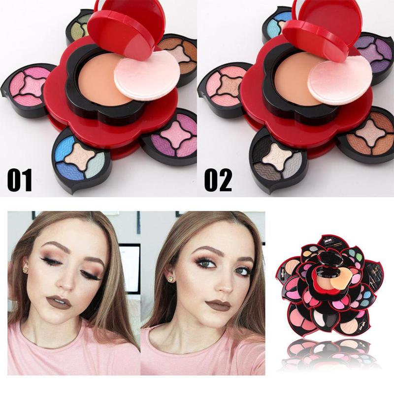 Learnever Plum Flower Rotating Eye Shadow Pallete Large Plum Blossom Makeup Tools Set Eyeshadow Box Cosmetic Case Makeup Set