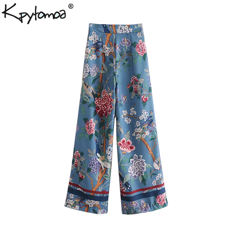 Vintage Elegant Floral Bird Print   Wide     Leg     Pants   Women 2018 Fashion Side Zipper Streetwear Ladies Trousers Casual Pantalon Mujer