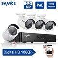 Sannce 1080 p cctv poe nvr kit de $ number canales sistema de circuito cerrado de televisión con 4 UNIDS 2.0MP Cámaras de Red IP POE 1080 P de Vigilancia de Seguridad CCTV Kit