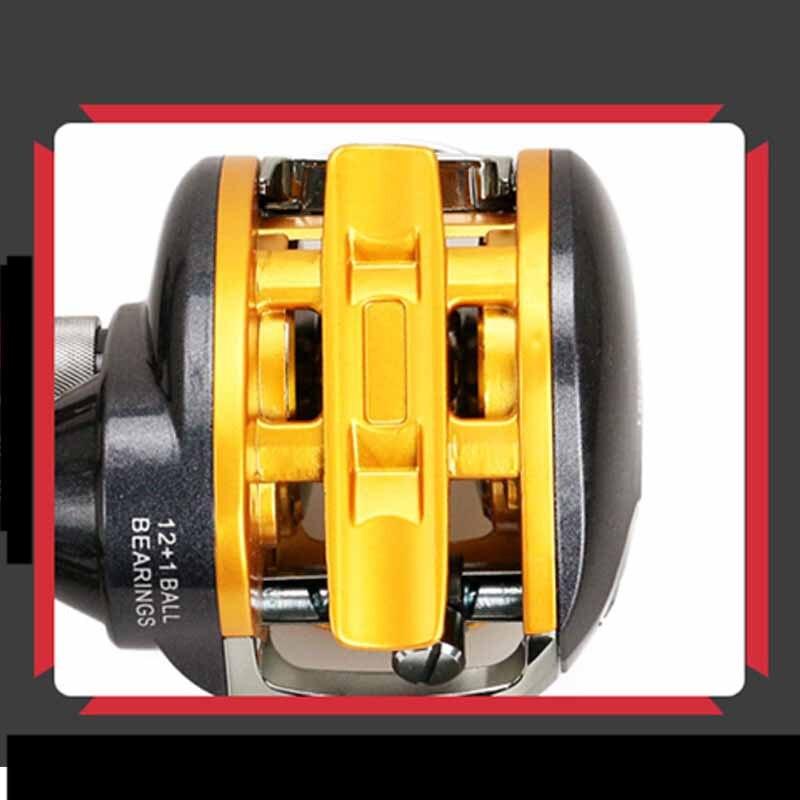 Haute qualité petit rapport de vitesse 6.2: 1 roulement à billes 12 + 1BB goutte d'eau ligne de poisson Baitcast bobine de pêche en plein air appât roue de coulée - 5