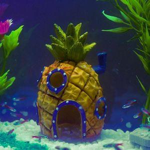Esin Ambachten Mini Voor Spongebob & Squidward Huis Stijl Ananas Cartoon Huis Thuis Aquarium Aquarium Ornament Versieren(China)