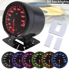 60MM 12V  Oil Temp Gauge 50~150 Degree Celsius 64 Backlights LED Electrical Car Temperature Meter with Sensor