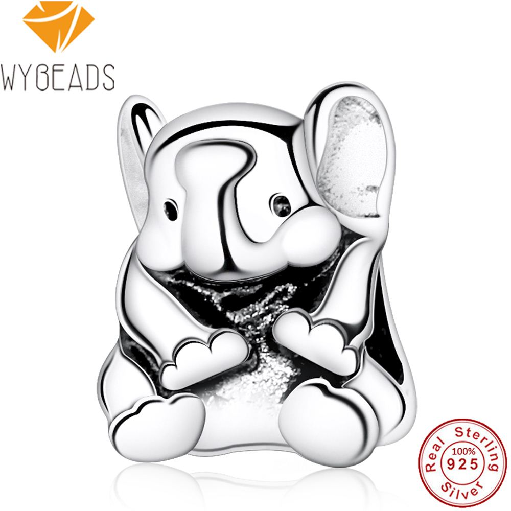 WYBEADS 925 Sterling Silver Lucky Lovely Elephant Baby Animal Charms European Bead Fit Bracelet DIY Accessories Fine Jewelry