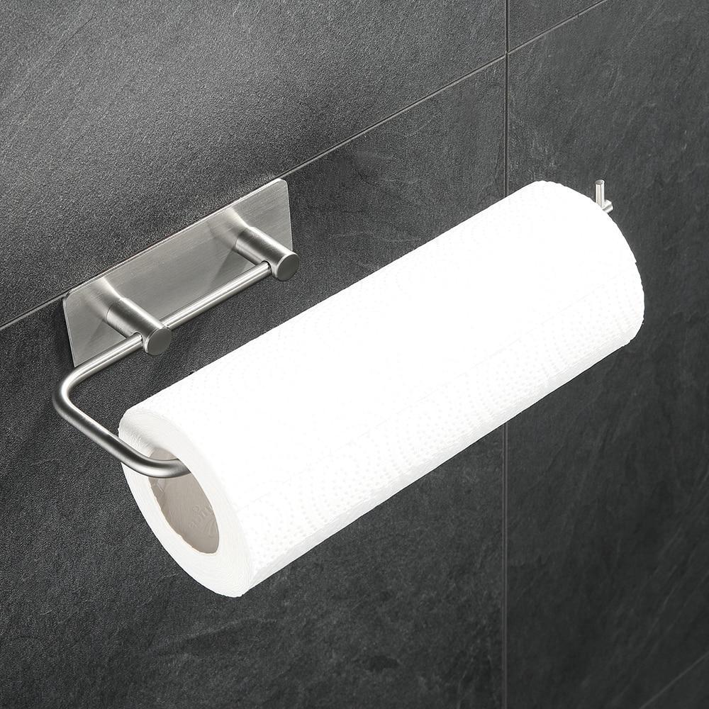Pared de acero inoxidable Horizontal titular de toalla de papel de cocina Rack dispensador para rollo de papel para la barra casera