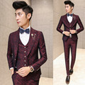 Prom Men Suit With Pants Red Floral Jacquard Wedding Suits for Men 3 pieces / Set (Jacket+Vest+Pants) Korean Slim Fit Dress 2016