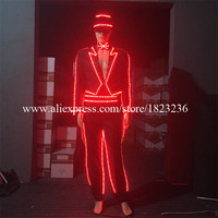 Hot Sale Colorful Led Luminous Gentleman Tuxedo With Pants Bow Tie And Hat Led Lighting Ballroom Costume Dancing Stage Clothes
