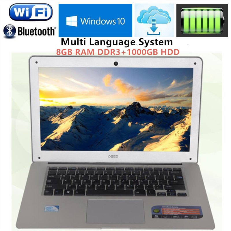 14.1inch 1366X768P LED 8GB RAM DDR3+1000GB HDD Windows7/8 Ultrathin Intel N3520 Quad Core Fast Running Laptops Netbook Computer