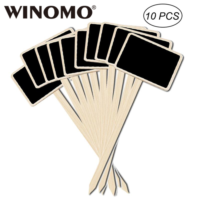 WINOMO 10PCS Durable Mini Wooden Chalkboard Creative Blackboard Signs Garden Flowers And Plants Tags House Decorations