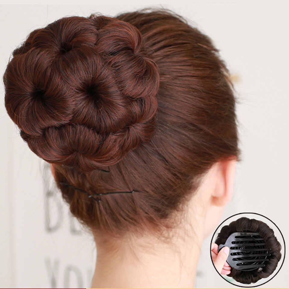 AOSIWIG волосы кудрявый шиньон Бун пончик клип в шиньон для женщин синтетическое высокотемпературное волокно шиньон
