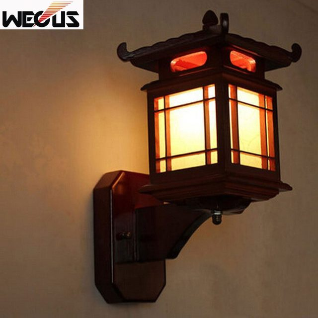 Retro Chinese wall lamp for bedroom living room ,antique Wood carving Parchme stair aisle corridor cafe lamp,E27 wall light bra