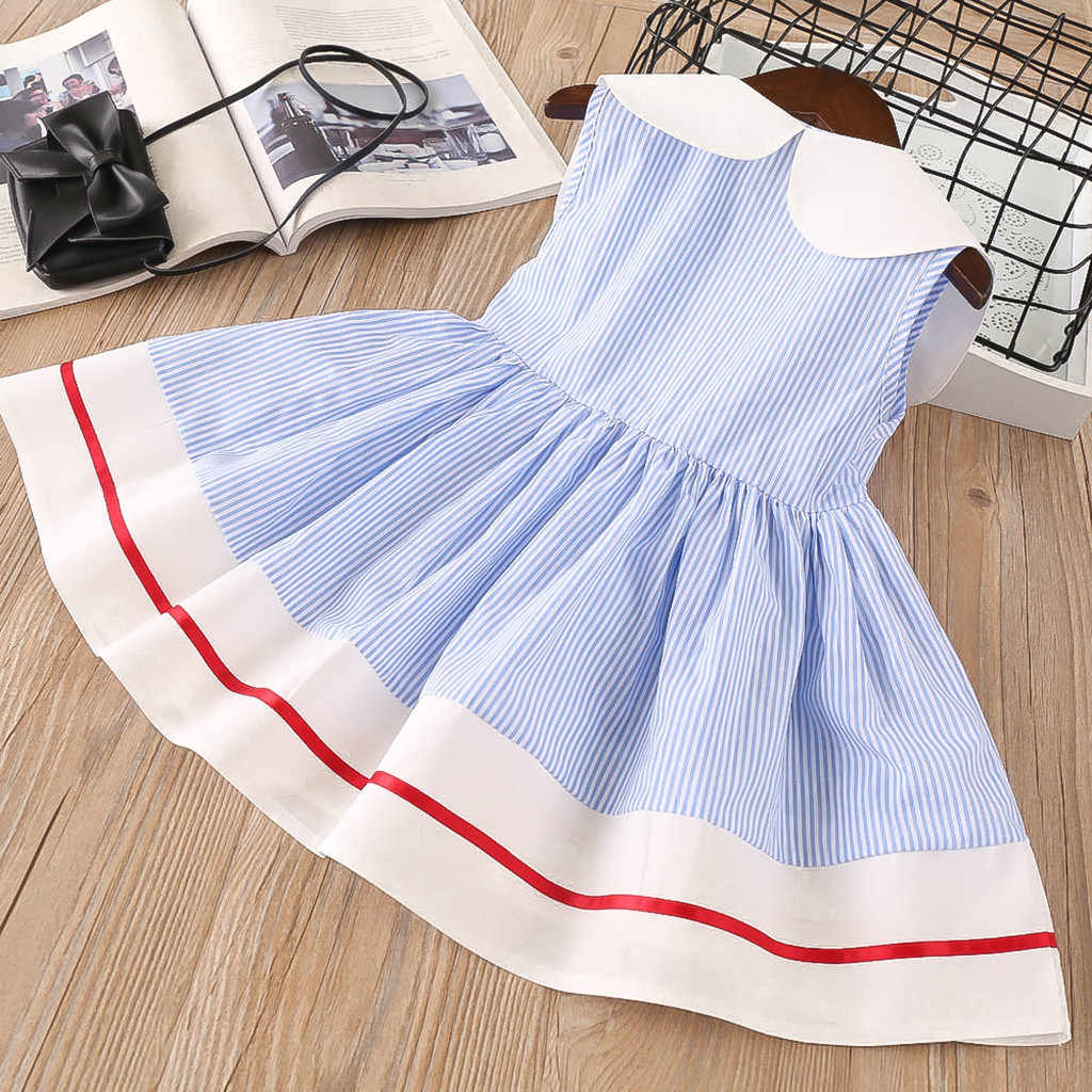MERICAL Baby Clothes Dress for Baby Girls Toddler Kids Clothes Sleeveless Cherry Striped Print Casual Party Princess Dresses Cute