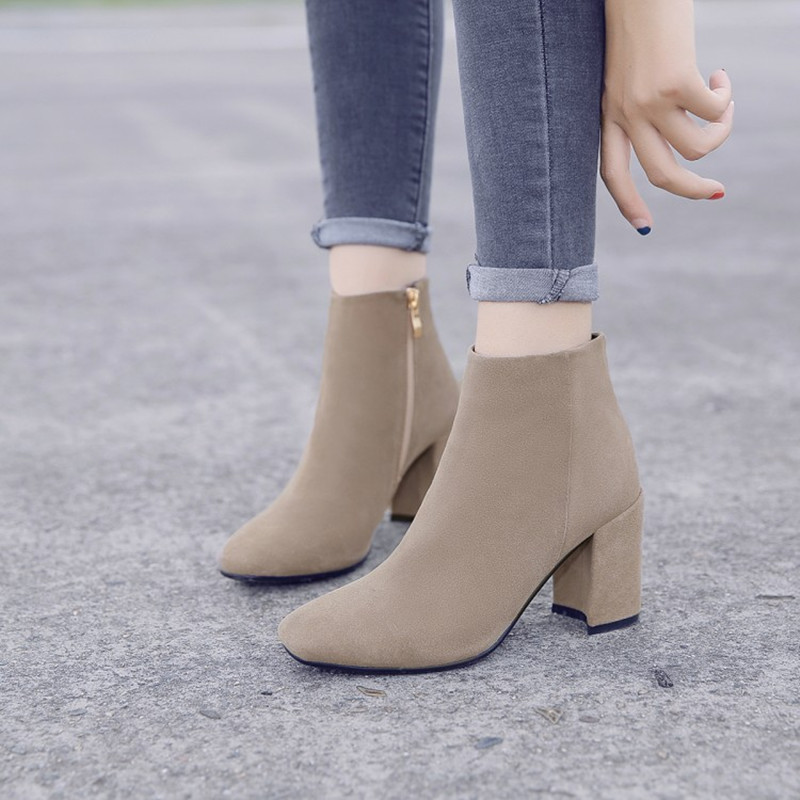 Plus Size 34 43 Genuine Leather Flock Ankle Boots Square High Heel Zipper Autumn Winter Shoes Ladies Party Fashion Martin Boots in Ankle Boots from Shoes