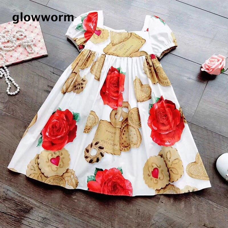 GlowwormKids New 2018 Summer Girls Dress Rose Flower Biscuits Pints Runway Girls Clothes Short Sleeve Cotton 2-7T hs054