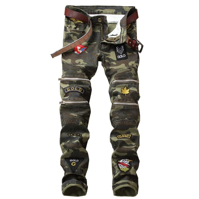 790ad53196a New Dropshipping Patchwork Badge Biker Jeans Men Camouflage Slim Fit  Motocycle Denim Trousers Straight Washed Multi Zipper Pants