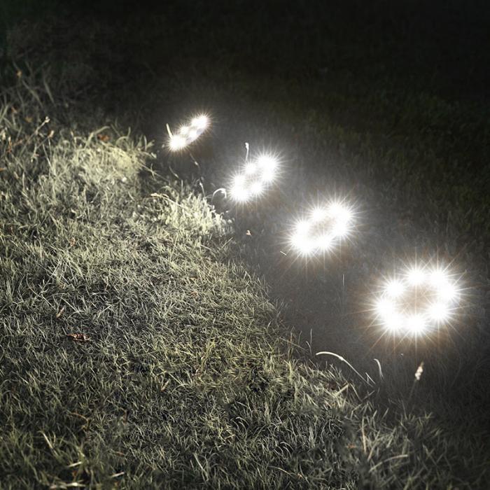 4 Pcs/set  LED Solar Power Buried Light 8 LEDs Ground Lamp Outdoor Path Way Garden Decor White Four 9