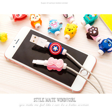 10PCS Fashion Cute Cartoon USB Cable Protector Cover Case For Apple Iphone android Charger Data Cable Earphone cable winder