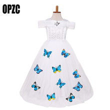 OPZC Baby Girl Cinderella Costume Dress White Lace Gown Princess Fancy kids Clothes For Christmas Snow Queen Cosplay Clothing