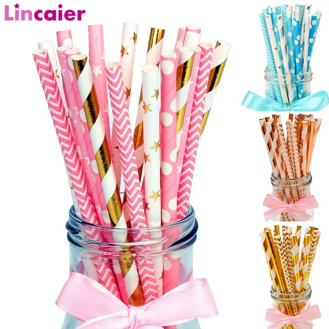 25pcs Paper Drinking Straws Happy Birthday Decoration First Birthday Baby Boy Girl Party Just Married Supplies 1st One Year