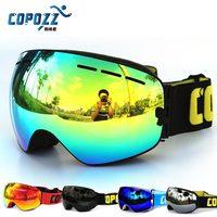New COPOZZ Brand Professional Ski Goggles Double Lens Anti Fog UV400 Big Ski Glasses Skiing Snowboard