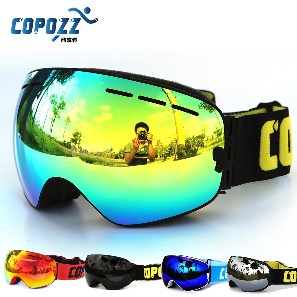 COPOZZ professional snowboard anti fog ski goggles double lens UV400 big glasses font b skiing b
