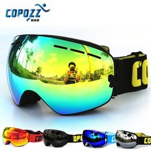 цена на New COPOZZ brand professional ski goggles double lens anti-fog UV400 big ski glasses skiing snowboard men women snow goggles