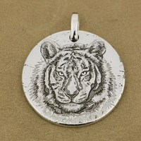 LINSION 999 Sterling Silver Tiger King Sharp Claw Mens Biker Punk Pendant 9X302 Just Pendant