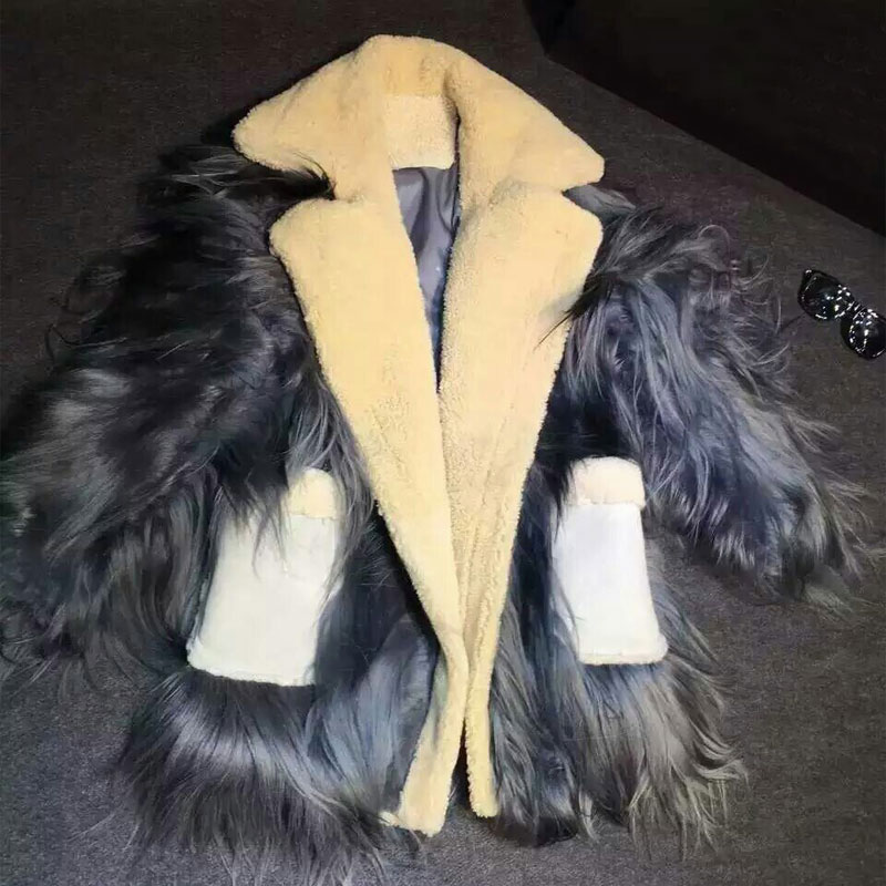 Pour D'or Mouton De En Deep Corée Toison Laine Manteau Étoiles Style Grey Peau Un Femme XSXZFBOq