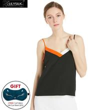 LILYSILK Women's 18mm Color Block V Neck Silk Camisole Nature White and French Red and Black