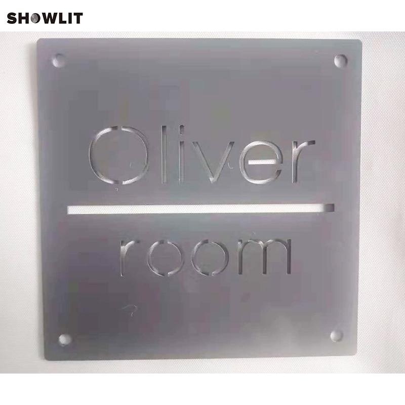 Dark Grey Custom Houe Number Door Sign With Family Name