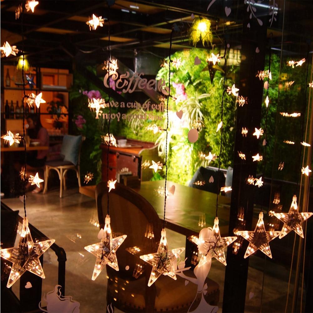 unids w impermeable blanco caliente led luces de navidad cortina estrella metro luces de cristal de navidad adornos