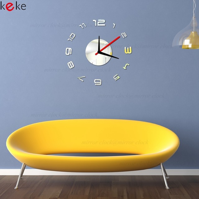 3D Wall Clock Decorative Mirrors TV Background Wall Sticker Home ...